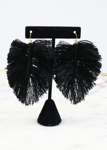 Black Fringe Leaf Earrings