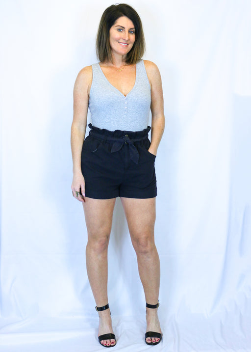 Black Front Tie Shorts