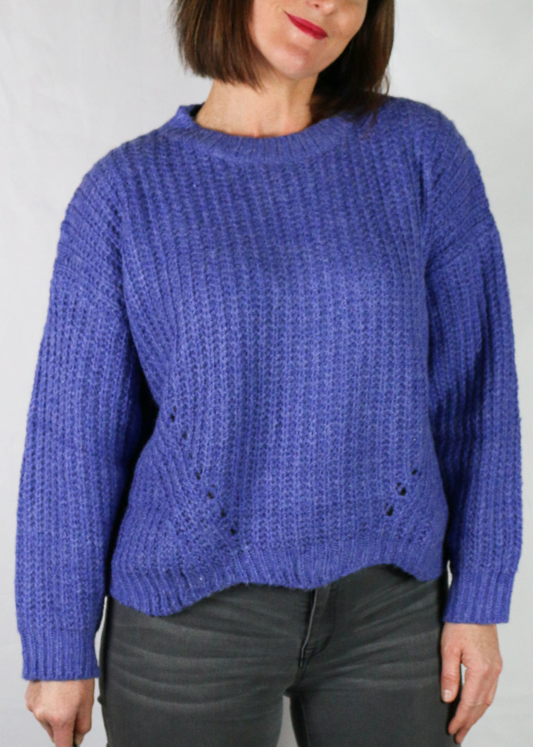 Washed Blue Scallop Edge Sweater
