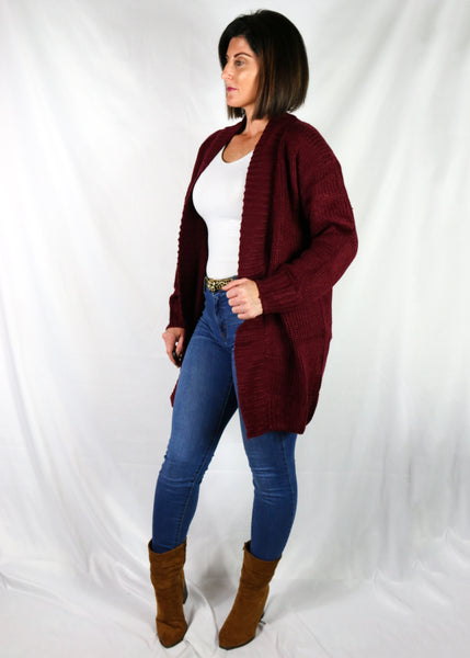 Maroon Sweater Cardigan