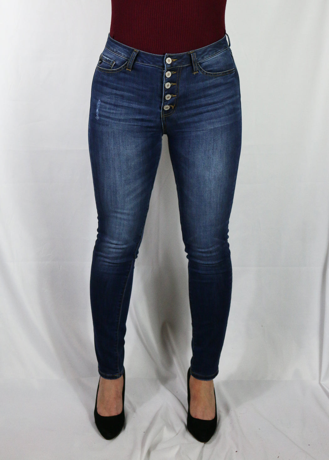 High Waisted Button Front Jeans