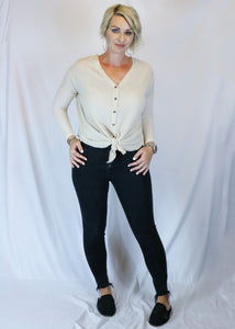 Cream Thermal Knit Top