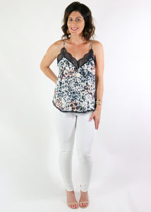 Cream and Navy Lace Leopard Tank