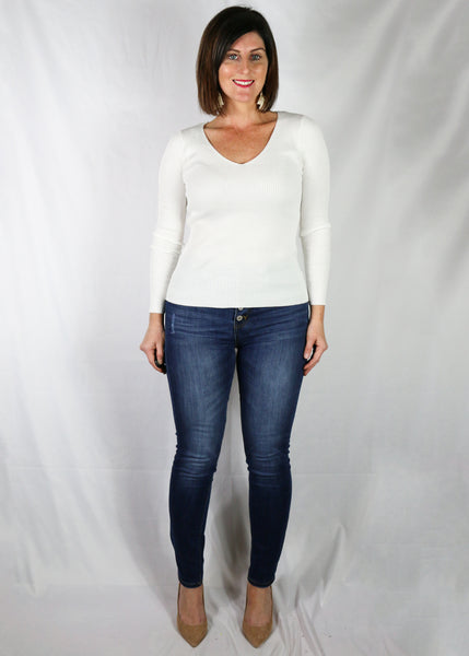 Ivory Fitted V Neck Top