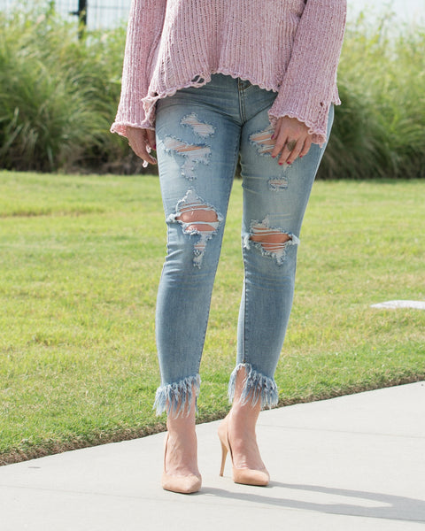 Distressed Ankle Fray Jeans
