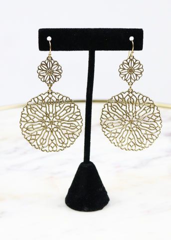 Gold Double Circle Filagree Earrings