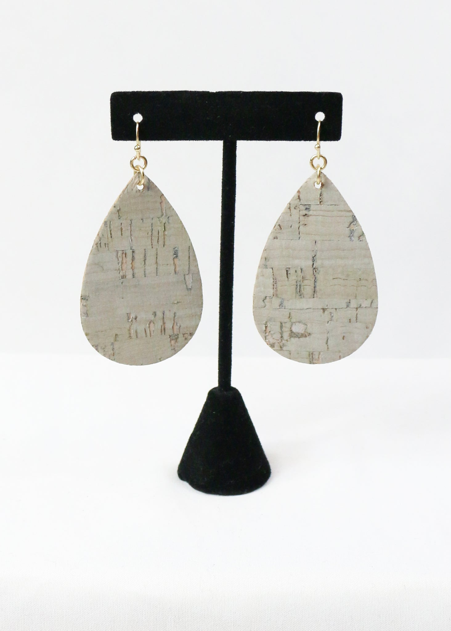 Gold Foil Cork Teardrop Earrings
