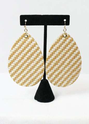 Ivory Wicker Oversized Teardrop Earrings