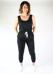 Black Drawstring Jogger Jumpsuit