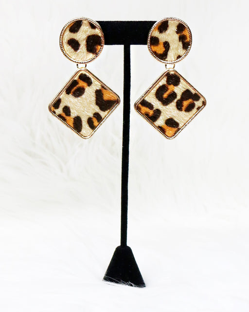 Circle and Diamond Leopard Print Earrings