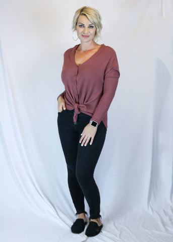 Mauve Thermal Knit Top