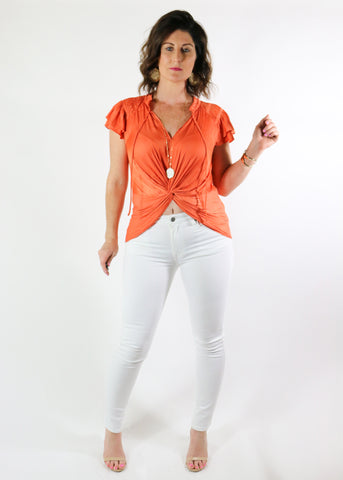 Dusty Orange Front Twist Top