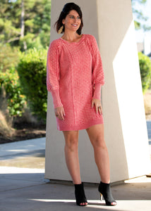 Pink Patterned Knit Sweater Dress