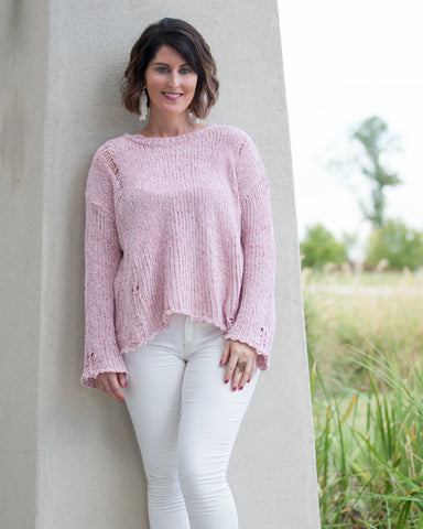 Pink Cozy Distressed Sweater