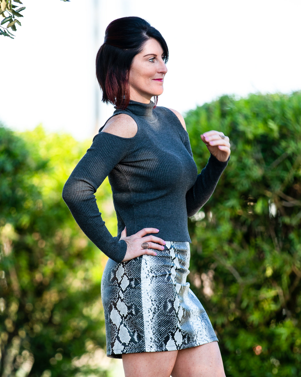 Gray Snakeskin Skirt