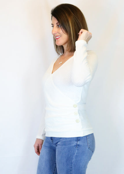 White Waffle Knit Button Top