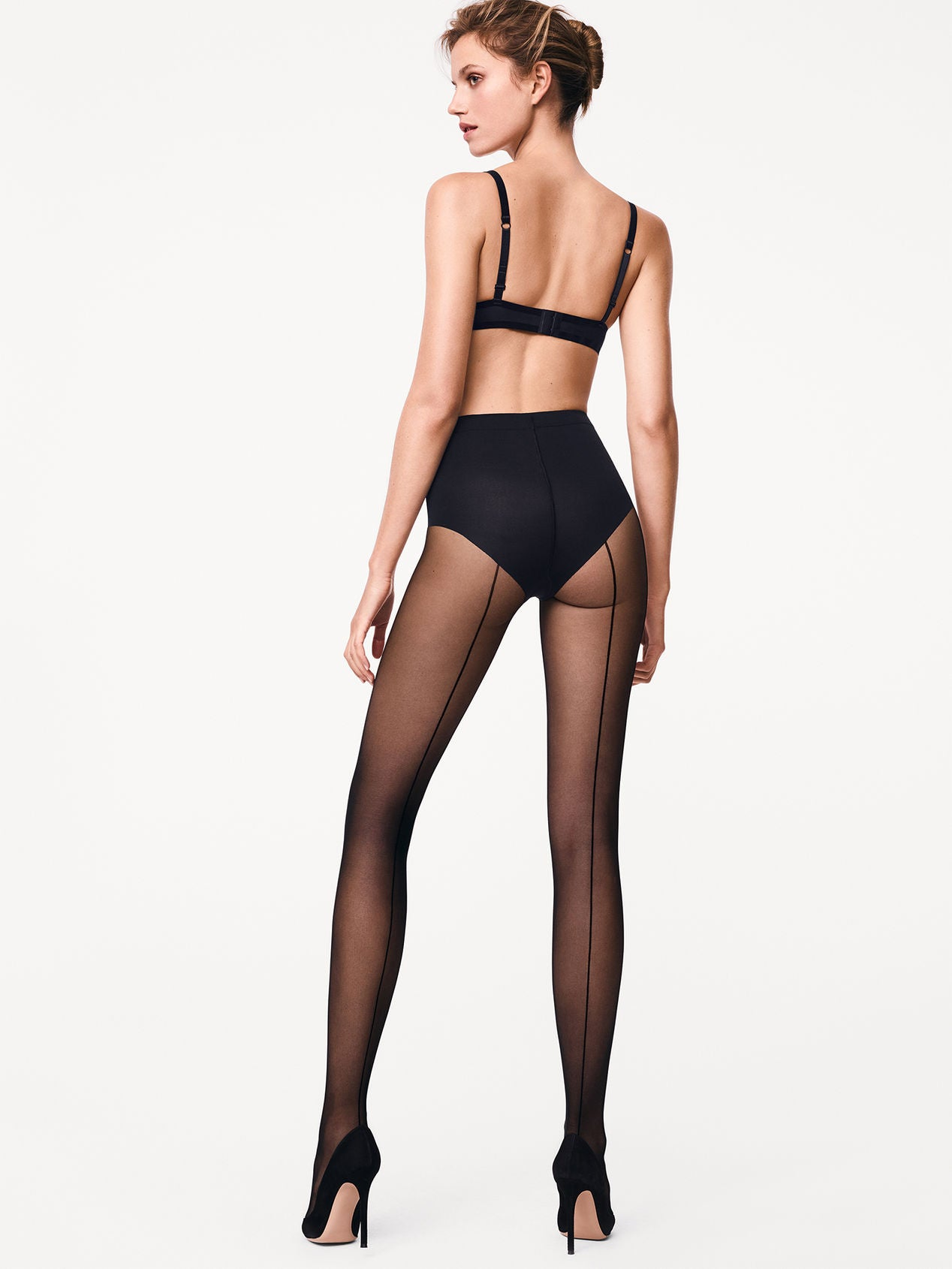 Wolford  Individual 10 Control Top + Black Seam Tights