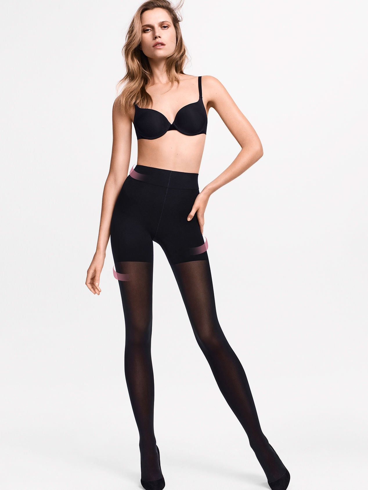 Wolford Tummy 66 Control Top Tights + black