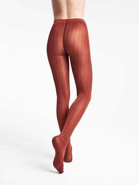 Wolford Striped Snake Tights  red/rust/b