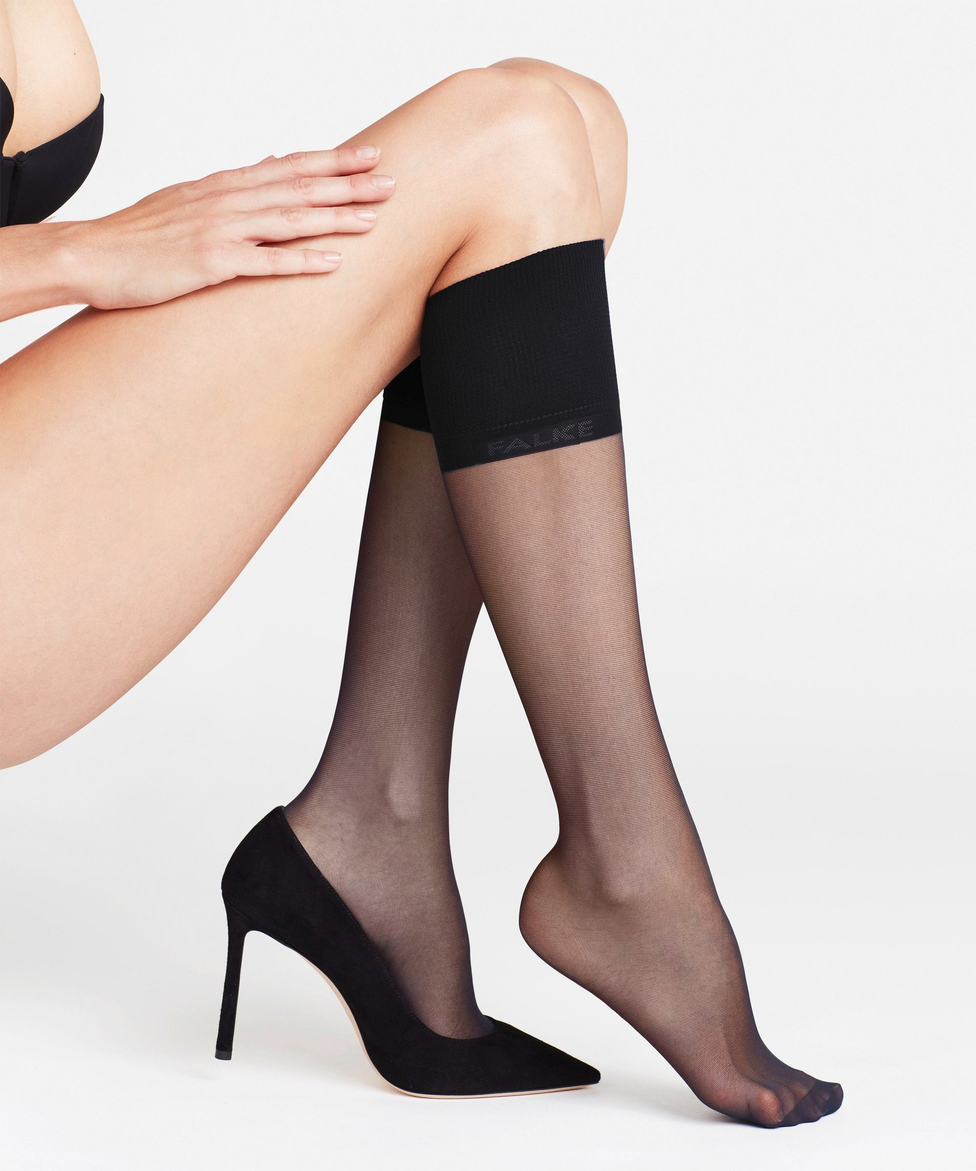 Falke Pure Matt 20 den Knee-high Socks Black