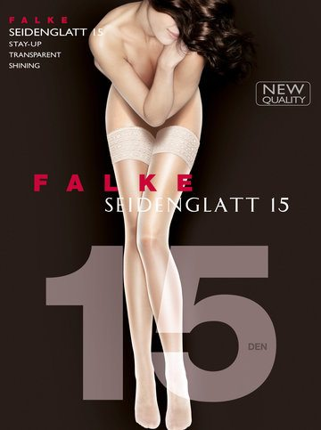 Falke Seidenglatt 15 den Stay Ups off white