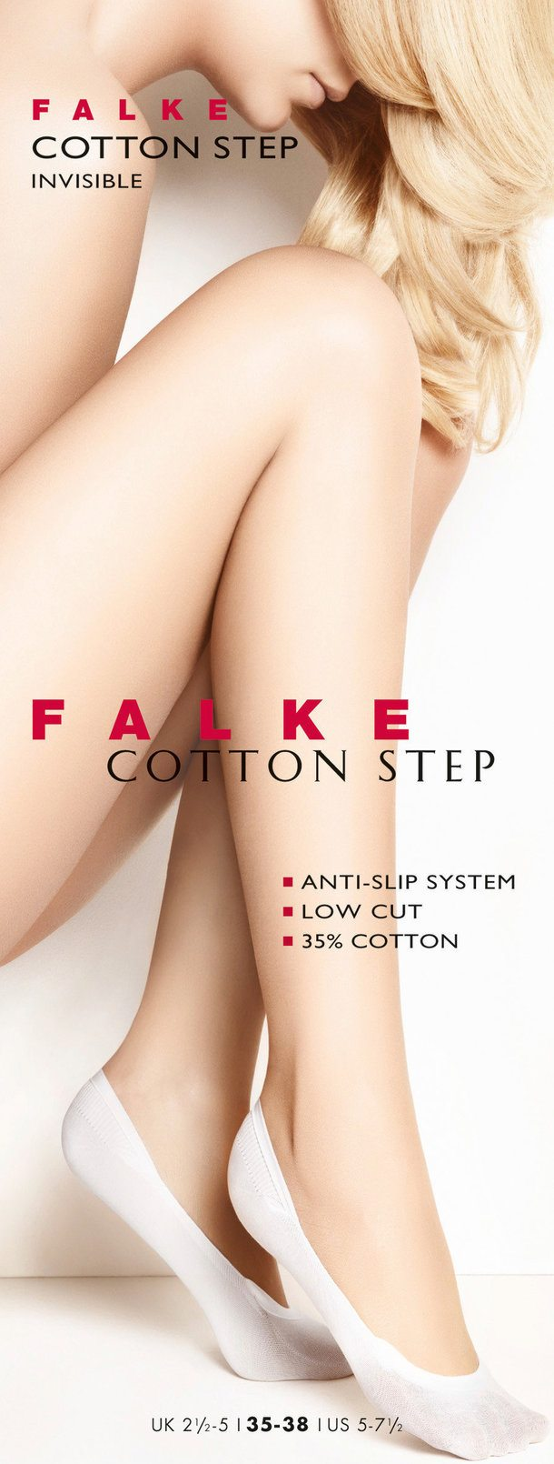 Falke Cotton Step Women No Show Socks White