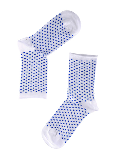 Note Woman Bamboo Dots Roll sokker White/Blue