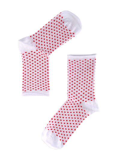 Note Woman Bamboo Dots Roll sokker White/red