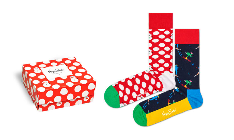 Happy Socks Holiday Snowman + Skier Gift Box 2-pack