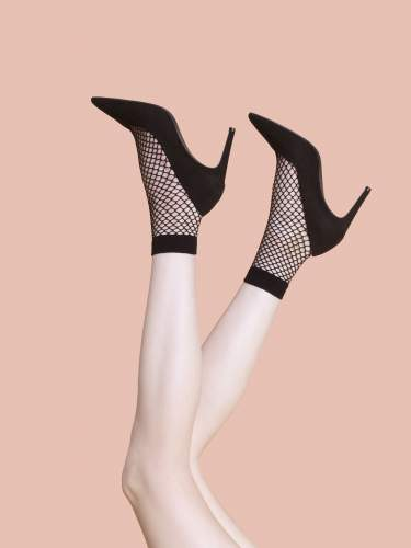 Fiore - ASH  40 denier Fishnet Sokker Black