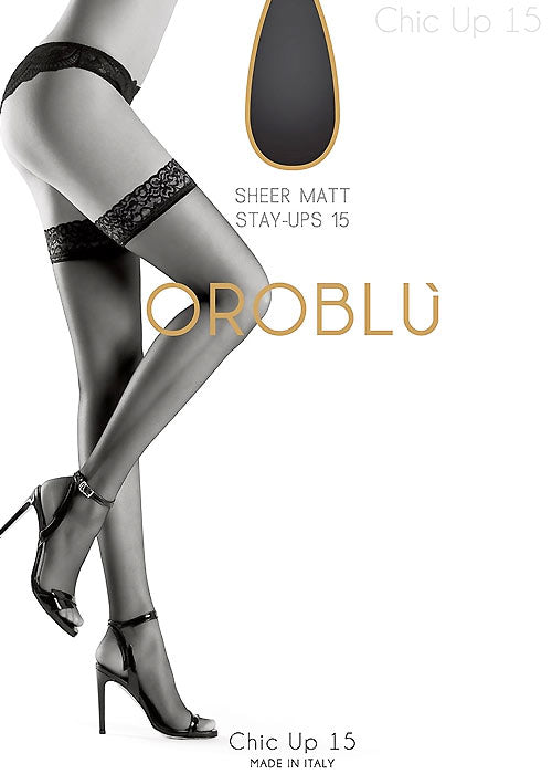 OROBLU Stay Up Chic Up 15, Daily, BLACK
