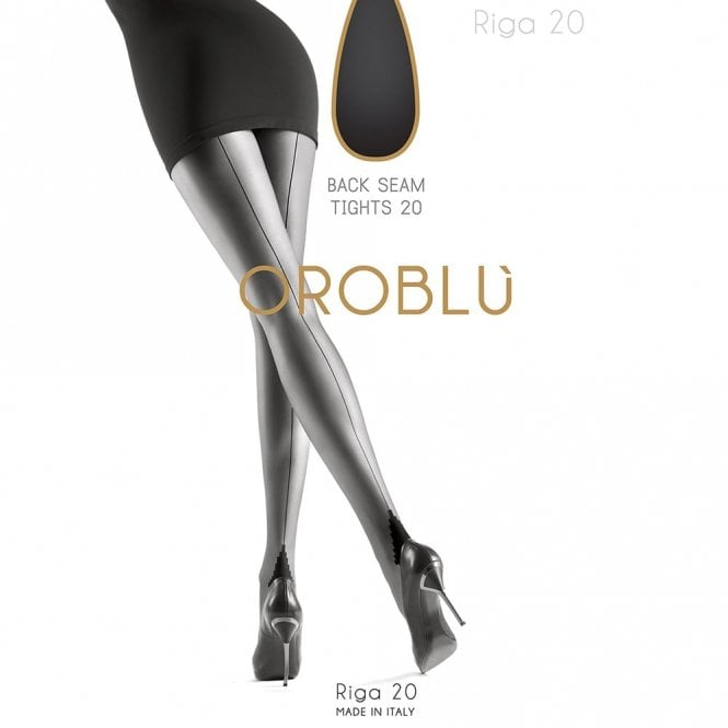 OROBLU Tights Riga 20 Fashion, Back Seam, BLACK