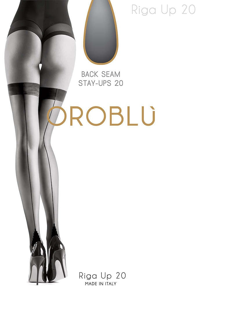 OROBLU Stay Up Riga Up 20, Fashion, Back Seam, BLACK