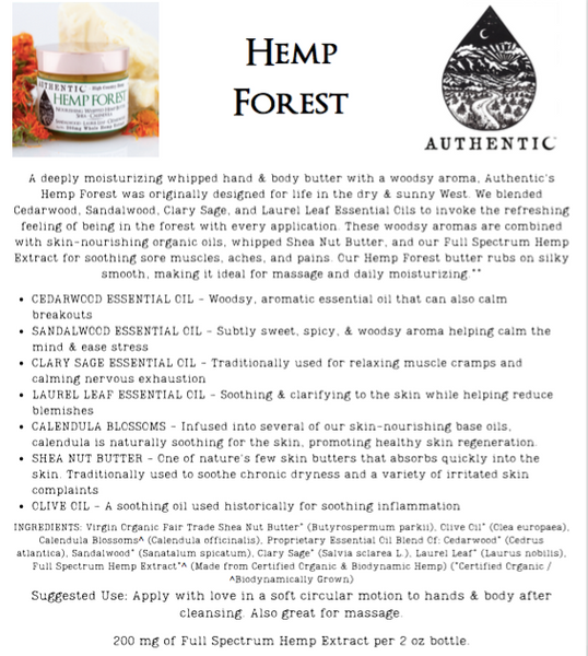 Authentic | Hemp Forest - Whipped Hand & Body Butter