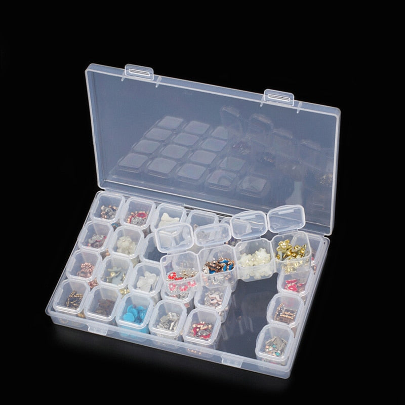 Nail Art Storage 28 Box Display Case Holder Beads Ring Earrings