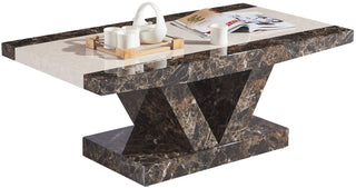 Marble Effect Mdf Coffee Table In Black White Brown Cream And Full Black Matching Dining Tv Unit Available