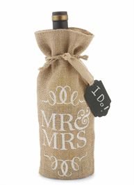 Mr. & Mrs. Burlap Wine bag