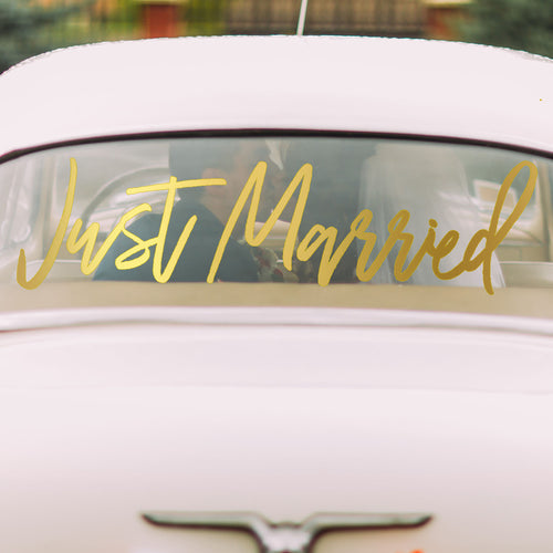Just Married Car Window Cling