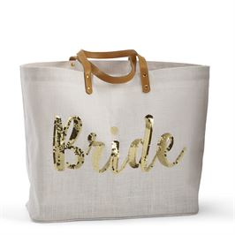 Bride Tote in Gold Sequins