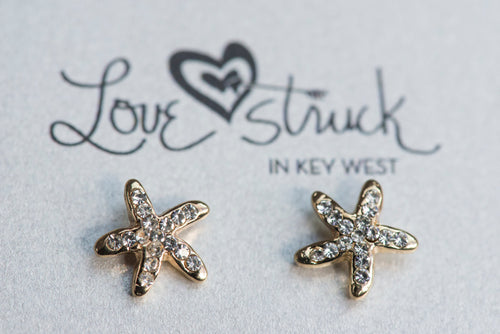 Small Starfish Rhinestone Earrings