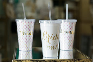 Bride/Bridesmaid/Maid of Honor Tumbler With Straw