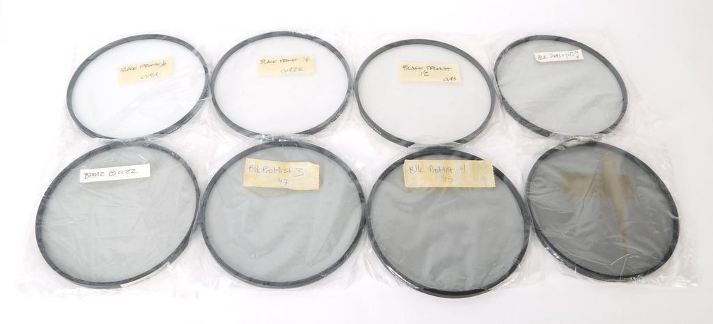 (8) Tiffen Professional 138mm Round Circular Black Pro Mist Camera Filters. 1/8, 1/2, 1, 2, 3, 4, 5 BPM Filter.