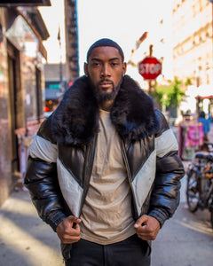 MEN V BOMBER- BLACK & WHITE WITH BLACK FUR