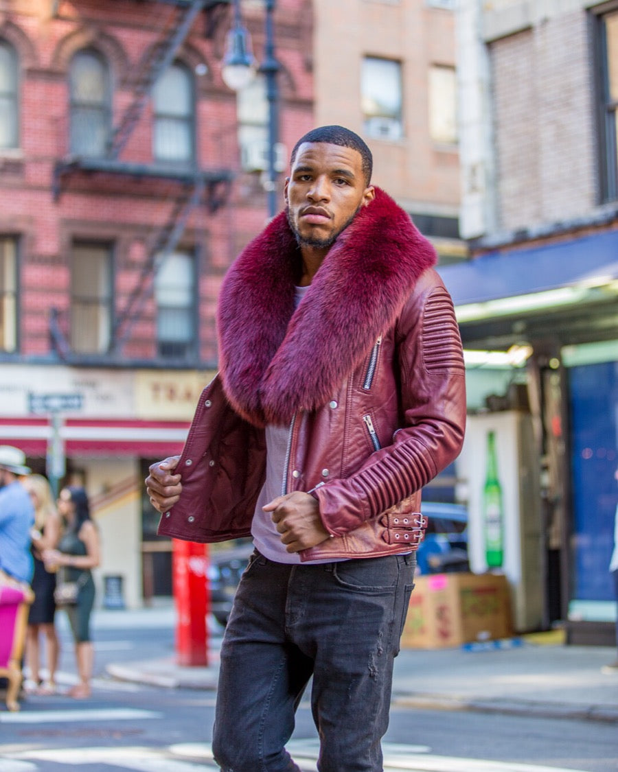 MEN BURGUNDY- BIKER RIBBLES WITH BURGUNDY FOX FUR