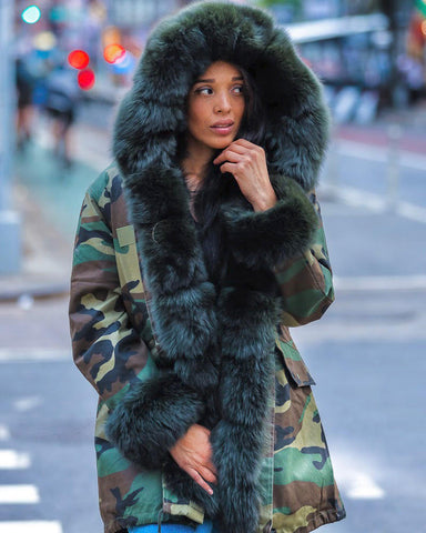 WOMEN PARKA- CAMO WITH GREEN FOX FUR