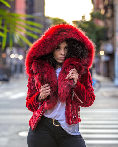 WOMEN MINK- RED MINK BIKER WITH RED FUR