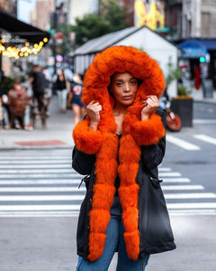 WOMEN PARKA- BLACK WITH ORANGE FOX FUR