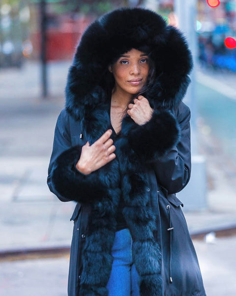 WOMEN PARKA- BLACK WITH BLACK FOX FUR