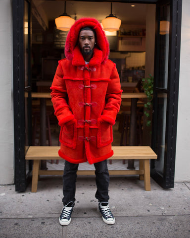 MEN SHEARLING- 3/4 RED WITH RED FOX FUR HOOD