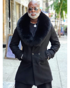 MEN TRENCH 3/4 PEACOAT-  BLACK WITH BLACK FOX FUR COLLAR